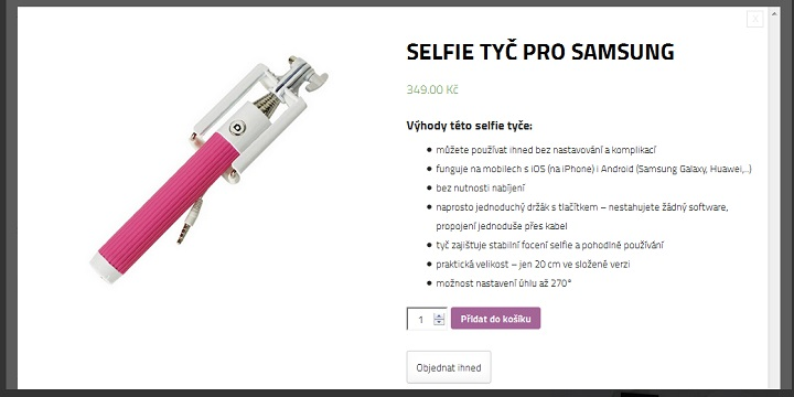 Nejlevnější selfie tyč